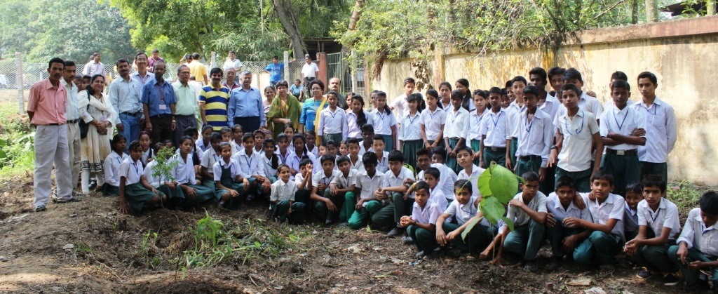 Tree Plantation school students at Sector-I area, Gauhati