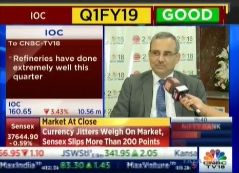 Mr. Sanjiv Singh, Chairman, IndianOil speaks to CNBC TV18 during the Q1 results